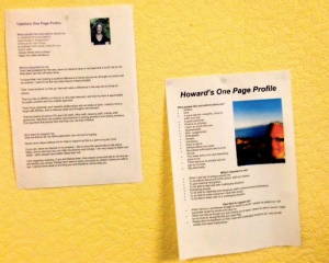 one-page profile on wall